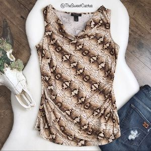 WHBM Sleeveless Snake Print Cowl Neck Ruched Top